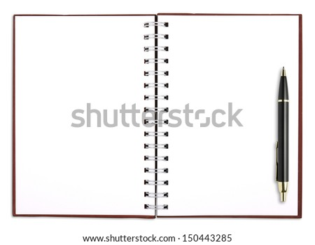 blank notebook white paper with pen for take notes, included clipping path