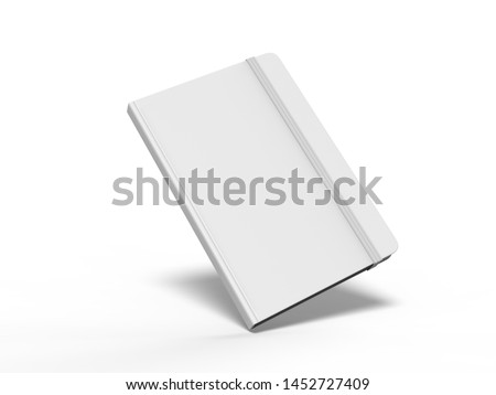 Blank Notebook with Elastic Band Closure for branding and mock up, 3d render illustration.