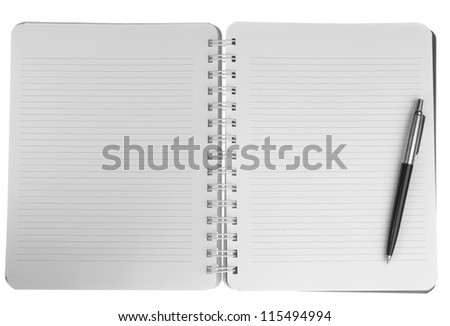 Blank notebook with pen. isolated on white.