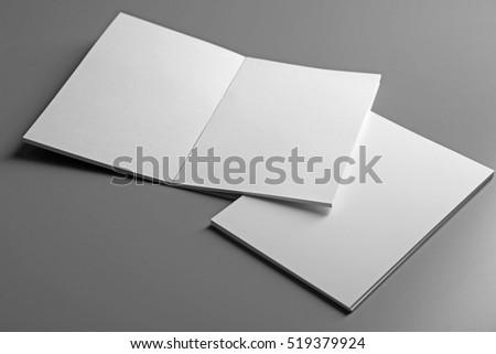 Blank notebooks on grey background #519379924