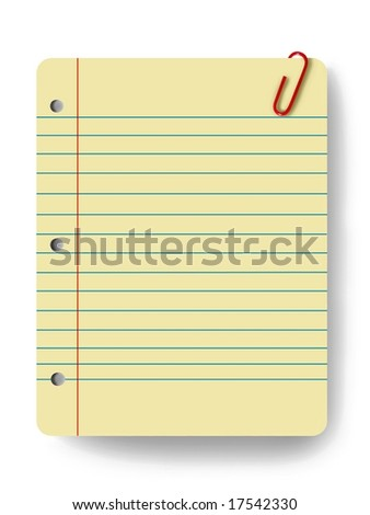 Blank notepad and a paper clip