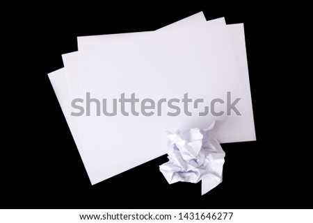 Blank notepad. Blank Paper on black background.Copy space