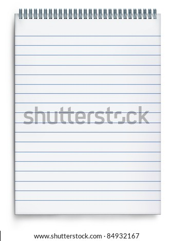 Blank notepad book on a white background with striped paper and metal spiral representing the concept of planning and correspondence through the writing of messages and notes on a blank page.