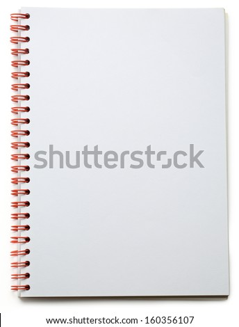 Blank notepad on the white background