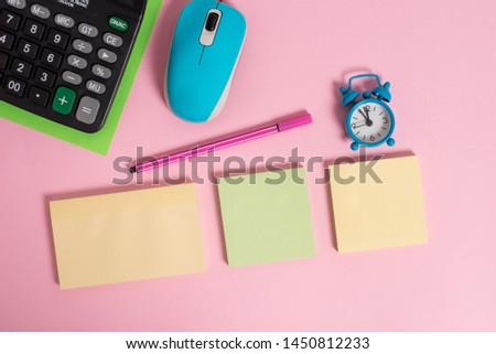 Blank notepads alarm clock wakeup marker wire mouse calculator sheet colored background empty text important events home office school house everywhere
