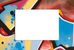 Blank notice advertising poster for mockup on painted artistic graffiti covered wall