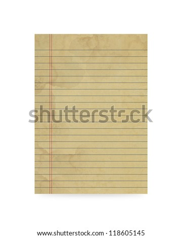 Blank old paper on white background