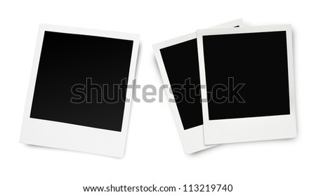 Blank old photo frames isolated on white background