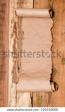 blank old scroll on wooden table