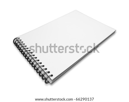 Blank one face white paper notebook perspective on white background
