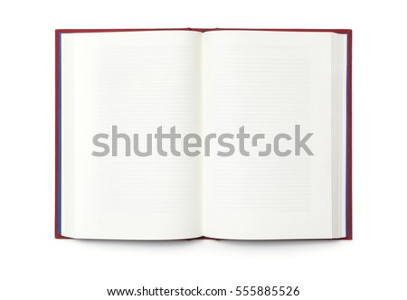 Blank open book isolated, top view #555885526