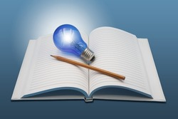 Blank Open book with glowing blue  light bulb and pencil on blue background represent ideation , creativity and knowledge concept