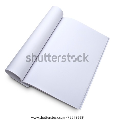 Blank open magazine isolated on white