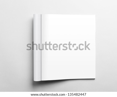 Blank open magazine isolated on white background