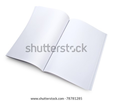 Blank open magazine isolated on white with a clipping path