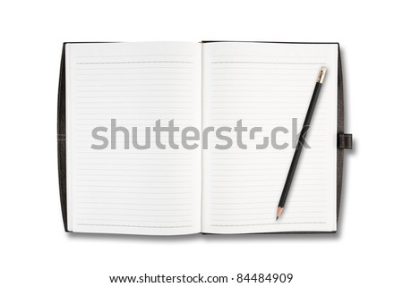 Blank open notebook and pencil on white background.