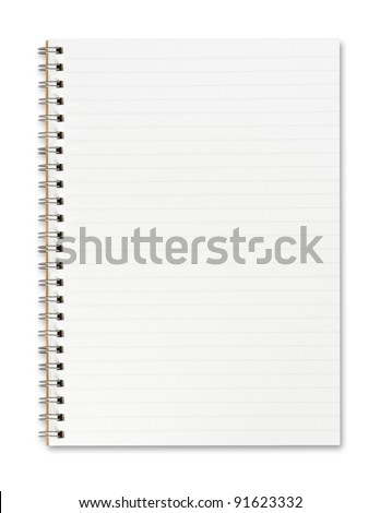 Blank open notebook with lined papers
