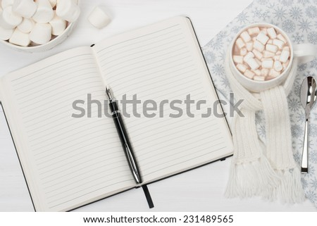 Blank Open Notepad. Mug Of Hot Chocolate With Scarf. Christmas Decorations.