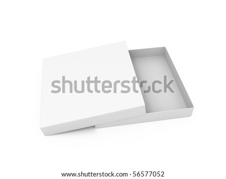 Blank opened cardboard pizza box isolated on white background