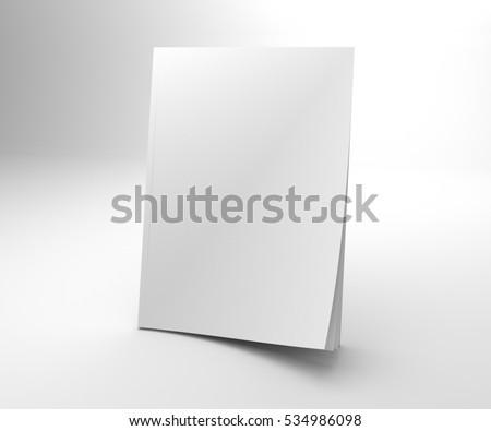 Blank opening corner 3D illustration magazine mock up. Stock photo ©