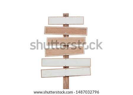 Blank or empty, clear isolated wooden planks or signboards on white background.