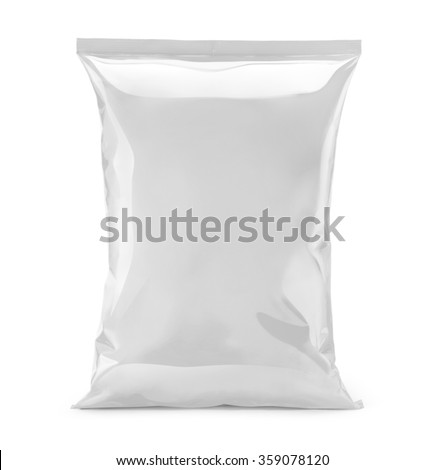 blank or white plastic bag snack packaging isolated on white