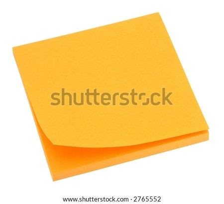 Blank orange memo pad isolated on white.
