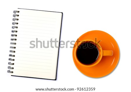 Blank organizer with coffee cup. Isolated on white background
