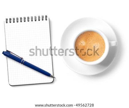 Blank organizer with pen and coffee cup. Isolated on white background