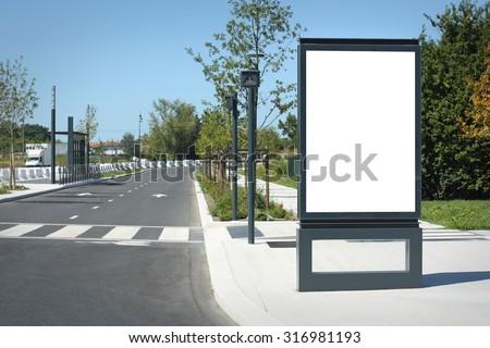 blank outdoor billboard in...
