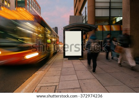 Blank outdoor bus advertising shelter
