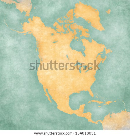 Blank outline map of North America. The Map is in vintage summer style and sunny mood. The map has a soft grunge and vintage atmosphere, which acts as a painted watercolors.