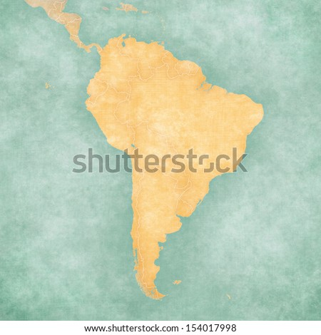 Blank outline map of South America. The Map is in vintage summer style and sunny mood. The map has a soft grunge and vintage atmosphere, which acts as a watercolor painting.