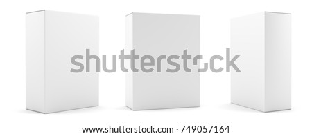 Blank package Box set. Isolated on white. 3d illustration