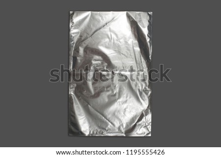 blank packaging aluminium foil pouch isolated on gray background with clipping path #1195555426
