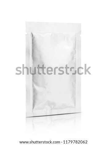 blank packaging aluminum foil snack sachet isolated on white background with clipping path ready for food product design