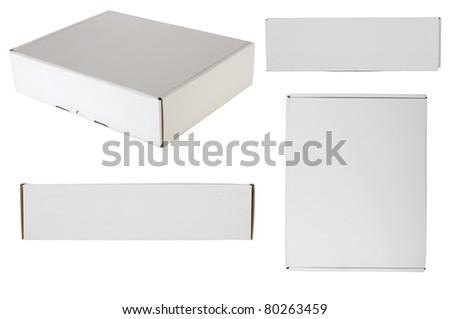 Blank packaging box, shot from every site, isolated over white background. Good for your design
