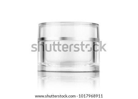 blank packaging clear cosmetic cream pot isolated on white background with clipping path ready for product design
