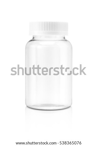 Blank packaging clear glass supplement bottle isolated on white background with clipping path #538365076