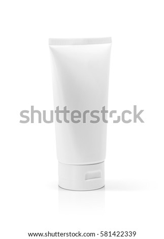 blank packaging cosmetic plastic tube isolated on white background with clipping path