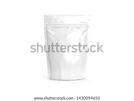 Blank packaging foil zipper pouch isolated on white background. Food Bag Package Of Coffee, Salt, Sugar, Pepper, Spices Or Flour, Folded, Grayscale. #1430094650