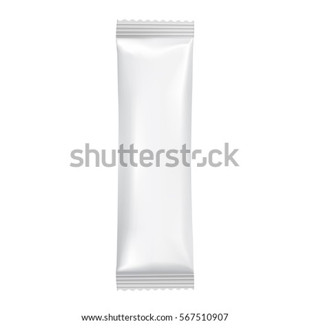 Blank packaging isolated on white background. Foil food snack bag for chocolate bar. Package template. Realistic 3d mockup. Plastic pack template. Ready for design. Raster illustration.
