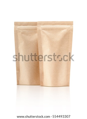 blank packaging recycle kraft paper pouch isolated on white background with clipping path ready for package design #554493307