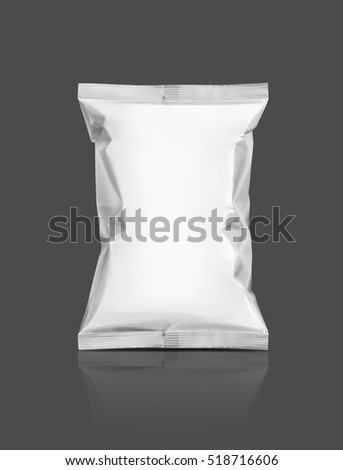 blank packaging snack pouch isolated on gray background with clipping path ready for package design