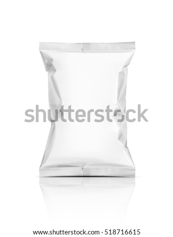 blank packaging snack pouch isolated on white background with clipping path ready for package design #518716615