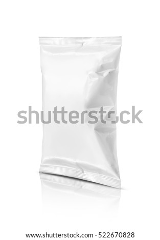 blank packaging snack pouch isolated on white background with clipping path ready for package design #522670828