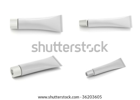 Blank packaging tube on white background