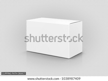 blank packaging white cardboard box isolated on virtual transparency grid background with clipping path, ready for packaging design #1038987409