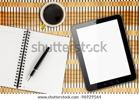 Blank Pad of Paper, Pen & Coffee, Tablet PC
