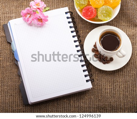 Blank Pad of Paper ready for your own text, Coffee, flowers and candy